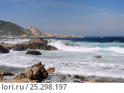 Купить «Waves breaking on rocky granitic coastline on a rough, windy day. Campomoro Point, near Propriano, Corsica, France, June 2010.», фото № 25298197, снято 17 октября 2018 г. (c) Nature Picture Library / Фотобанк Лори
