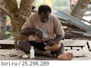 Купить «Carver Huimes Namusu carves out a groove from the rim of a coconut wood bowl to make space for the nautilus mother of pearl inlay, Chea Village, Marovo...», фото № 25298289, снято 16 июля 2018 г. (c) Nature Picture Library / Фотобанк Лори
