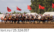 Купить «Traditionally dressed Berber warriors, mounted on Barb and Arab Barb horses, galloping in formation with guns raised during the Fantasia in Dar Es Salam, Morocco, June 2010», фото № 25324057, снято 4 декабря 2019 г. (c) Nature Picture Library / Фотобанк Лори
