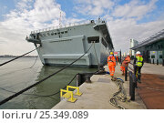 "Купить «Landing Platform Dock ""HMS Albion"" alongside the City of Liverpool Cruise Terminal. England, UK, March 2010. Editorial use only.», фото № 25349089, снято 6 июля 2020 г. (c) Nature Picture Library / Фотобанк Лори"