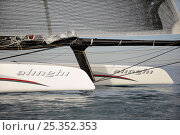 """Купить «The bows of 90ft catamaran """"Alinghi 5"""" training prior to the first race of the 33rd America's Cup, Valencia, Spain. February 2010. ^^^A Deed of Gift race...», фото № 25352353, снято 19 июня 2018 г. (c) Nature Picture Library / Фотобанк Лори"""
