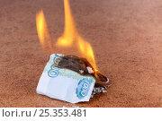 Догорающая купюра 1000 рублей. Стоковое фото, фотограф Юрий Шурчков / Фотобанк Лори
