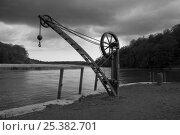 Купить «Old crane (1863) on Cotehele Historic Quay, River Tamar, Cornwall, UK. April 2009.», фото № 25382701, снято 25 апреля 2018 г. (c) Nature Picture Library / Фотобанк Лори