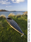 Купить «Kayak pulled up on bank at Lower Town Beach, St. Martin's, Isles of Scilly. December 2008.», фото № 25392181, снято 18 августа 2018 г. (c) Nature Picture Library / Фотобанк Лори