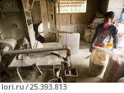 Купить «Milling / husking the harvested threshed rice. The husk is striped from the rice by passing the rice through two spinning rubber roles, one roll spinning...», фото № 25393813, снято 20 января 2018 г. (c) Nature Picture Library / Фотобанк Лори