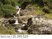 Купить «Porter crossing a small bridge over a tributary of the Modi Kola river, Nepal, November 2007.», фото № 25395529, снято 15 декабря 2017 г. (c) Nature Picture Library / Фотобанк Лори