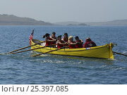 """Купить «USA ladies crew in borrowed gig """"Lyonesse"""" racing at the 19th World Pilot Gig Championships, Isles of Scilly, May 2008», фото № 25397085, снято 27 мая 2018 г. (c) Nature Picture Library / Фотобанк Лори"""