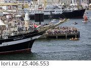 "Купить «Four masted barque ""Kruzenshtern"" entering port, Douarnenez Maritime Festival, France, July 2008», фото № 25406553, снято 6 августа 2020 г. (c) Nature Picture Library / Фотобанк Лори"
