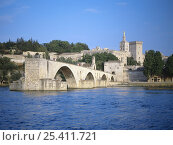Купить «Pont d'Avignon over the River Rhone with the Palais des Papes behind, Avignon, Provence, France, June 2004», фото № 25411721, снято 16 июля 2018 г. (c) Nature Picture Library / Фотобанк Лори