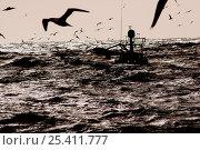 Купить «A fishing vessel in a trough between heavy swells in the North Sea, February 2006», фото № 25411777, снято 20 октября 2018 г. (c) Nature Picture Library / Фотобанк Лори