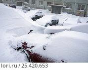 Купить «Автомобили в снежном сугробе», фото № 25420653, снято 22 января 2017 г. (c) Вячеслав Палес / Фотобанк Лори