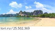 Купить «Панорама пляжа Рейли Вест (Railay West Beach). Королевство Таиланд, провинция Краби, полуостров Рейли», фото № 25502369, снято 3 февраля 2017 г. (c) Владимир Сергеев / Фотобанк Лори