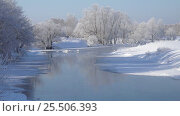 Купить «Altai river Talitsa with reflection of willow trees covered by hoarfrost in water in winter», видеоролик № 25506393, снято 29 января 2017 г. (c) Serg Zastavkin / Фотобанк Лори