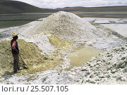 Купить «Borax mining in Andean lake, altiplano, Bolivia», фото № 25507105, снято 27 февраля 2020 г. (c) Nature Picture Library / Фотобанк Лори