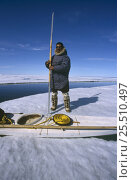 Купить «Inuit hunter holding traditional harpoon next to kayak on ice floe, Canadian Arctic», фото № 25510497, снято 26 апреля 2018 г. (c) Nature Picture Library / Фотобанк Лори