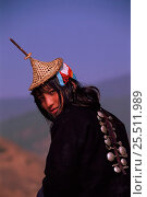 Купить «Laya woman from West Bhutan wearing head-dress Bhutan Population approximately 800», фото № 25511989, снято 14 августа 2018 г. (c) Nature Picture Library / Фотобанк Лори