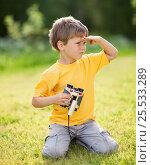 Купить «Boy with binoculars», фото № 25533289, снято 9 июня 2015 г. (c) Алена Роот / Фотобанк Лори