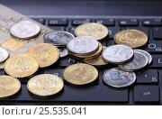 Купить «Монеты и банковская карта на клавиатуре ноутбука», эксклюзивное фото № 25535041, снято 13 февраля 2017 г. (c) Яна Королёва / Фотобанк Лори