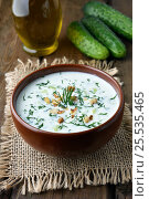 Купить «Yoghurt cold soup», фото № 25535465, снято 13 июля 2015 г. (c) Татьяна Волгутова / Фотобанк Лори