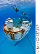 Купить «Divers on scooters exploring the wreck of the USS Kittiwake (US Military submarine rescue vessel)  Photograph was taken shortly after the wreck was deliberately...», фото № 25537837, снято 17 августа 2018 г. (c) Nature Picture Library / Фотобанк Лори