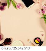 Купить «Creative beauty feminine arrangement of flowers and cosmetics», фото № 25542513, снято 9 февраля 2017 г. (c) Наталия Кленова / Фотобанк Лори