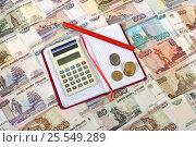 Купить «Деньги, калькулятор, блокнот и карандаш», эксклюзивное фото № 25549289, снято 13 февраля 2017 г. (c) Юрий Морозов / Фотобанк Лори
