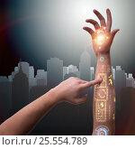 Купить «Human robotic hand in futuristic concept», фото № 25554789, снято 21 сентября 2019 г. (c) Elnur / Фотобанк Лори