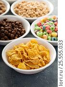 Купить «Variety of cold cereals in white bowls», фото № 25555033, снято 6 февраля 2017 г. (c) Елена Веселова / Фотобанк Лори
