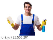 Купить «Man with cleaning agents isolated on white background», фото № 25556201, снято 31 октября 2016 г. (c) Elnur / Фотобанк Лори