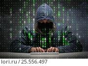 Купить «Young hacker in data security concept», фото № 25556497, снято 10 мая 2019 г. (c) Elnur / Фотобанк Лори