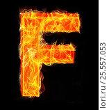 Купить «Burning letters as alphabet type F», фото № 25557053, снято 19 января 2019 г. (c) Elnur / Фотобанк Лори