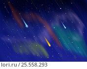 Купить «Cosmic night sky with shooting stars backgroung», иллюстрация № 25558293 (c) Александр Подшивалов / Фотобанк Лори