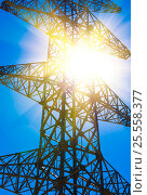 Купить «High voltage power pylon and sun rays», фото № 25558377, снято 6 января 2016 г. (c) Александр Подшивалов / Фотобанк Лори