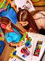 Children painting and drawing. Craft lesson in primary school., фото № 25558561, снято 4 октября 2015 г. (c) Gennadiy Poznyakov / Фотобанк Лори