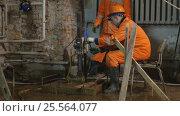 Купить «Рабочие ведут ремонтные работы в подвале здания Биржи в Санкт-Петербурге», видеоролик № 25564077, снято 15 февраля 2017 г. (c) Stockphoto / Фотобанк Лори
