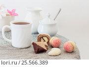 Купить «cup of tea on table», фото № 25566389, снято 29 августа 2016 г. (c) Майя Крученкова / Фотобанк Лори