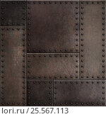 Купить «Dark rusty metal plates with rivets seamless background or texture», фото № 25567113, снято 15 октября 2019 г. (c) Андрей Кузьмин / Фотобанк Лори