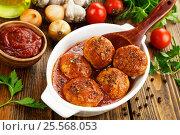 Купить «Фрикадельки в томатном соусе», фото № 25568053, снято 14 февраля 2017 г. (c) Надежда Мишкова / Фотобанк Лори