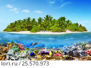 Купить «Tropical island in Ocean and beautiful underwater world», фото № 25570973, снято 17 января 2016 г. (c) Vitas / Фотобанк Лори