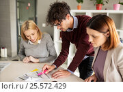 Купить «happy business team with papers in office», фото № 25572429, снято 1 октября 2016 г. (c) Syda Productions / Фотобанк Лори