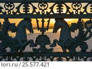 Купить «Нева. Перила Благовещенского моста. Санкт-Петербург», эксклюзивное фото № 25577421, снято 15 февраля 2017 г. (c) Александр Алексеев / Фотобанк Лори