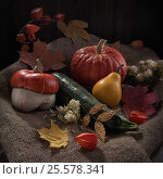 Still life with pumpkins and autumn leaves, low key. Стоковое фото, фотограф Анастасия Богатова / Фотобанк Лори