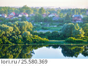 Summer landscape with small countryside in the forest near the river, фото № 25580369, снято 28 июня 2015 г. (c) Зезелина Марина / Фотобанк Лори