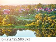 Купить «Summer rural landscape with small countryside in the forest near the river», фото № 25580373, снято 28 июня 2015 г. (c) Зезелина Марина / Фотобанк Лори