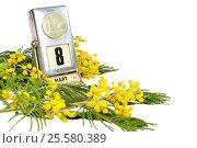 Купить «8 марта - винтажный календарь с датой 8 марта и цветами мимозы изолированно на белом фоне», фото № 25580389, снято 10 марта 2016 г. (c) Зезелина Марина / Фотобанк Лори