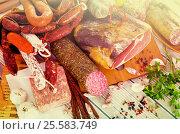 Купить «Variety of meats on table», фото № 25583749, снято 5 июля 2020 г. (c) Яков Филимонов / Фотобанк Лори