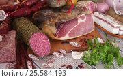delicious variety of meats. Стоковое видео, видеограф Яков Филимонов / Фотобанк Лори