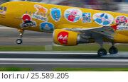 Купить «Airplane Airbus 320 landing», видеоролик № 25589205, снято 2 декабря 2016 г. (c) Игорь Жоров / Фотобанк Лори
