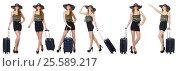 Купить «Travel vacation concept with luggage on white», фото № 25589217, снято 2 июля 2014 г. (c) Elnur / Фотобанк Лори