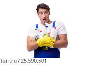 Купить «Man with cleaning agents isolated on white background», фото № 25590501, снято 31 октября 2016 г. (c) Elnur / Фотобанк Лори